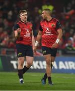 21 January 2017; Rory Scannell, left, and Simon Zebo of Munster in conversation during the European Rugby Champions Cup Pool 1 Round 6 match between Munster and Racing 92 at Thomond Park in Limerick. Photo by Diarmuid Greene/Sportsfile