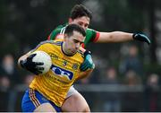 22 January 2017; Tom Featherston of Roscommon is tackled by Liam Irwin of Mayo during the Connacht FBD League Section A Round 3 match between Roscommon and Mayo at St. Brigids GAA Club in Kiltoom, Co. Roscommon.  Photo by Ramsey Cardy/Sportsfile