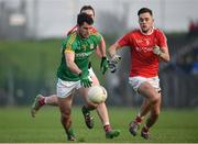 22 January 2017; Donal Keogan of Meath in action against Andy McDonnell of Louth during the Bord na Mona O'Byrne Cup semi-final match between Meath and Louth at Páirc Táilteann in Navan, Co. Meath. Photo by David Fitzgerald/Sportsfile