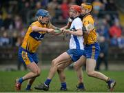 22 January 2017; Callum Lyons of Waterford in action against Bobby Duggan, left, and Conor O'Donnell of Clare during the Co-Op Superstores Munster Senior Hurling League Round 4 match between Waterford and Clare at Fraher Field in Dungarvan, Co Waterford. Photo by Seb Daly/Sportsfile