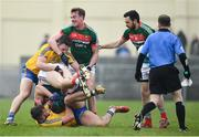 22 January 2017; Conor O'Shea, below, and Danny Kirby of Mayo tussle with Ultan Harney, below, and John McManus of Roscommon during the Connacht FBD League Section A Round 3 match between Roscommon and Mayo at St. Brigids GAA Club in Kiltoom, Co. Roscommon.  Photo by Ramsey Cardy/Sportsfile