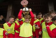 22 January 2017; Cork captain Robert Greaney O'Brien lifting the cup after the U-15 SFAI SUBWAY Championship 2016-17 match between Galway and Cork at Cahir Park AFC in Cahir, Tipperary. Photo by Eóin Noonan/Sportsfile