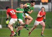 22 January 2017; Donal Keogan of Meath in action against Conal McKeever of Louth during the Bord na Mona O'Byrne Cup semi-final match between Meath and Louth at Páirc Táilteann in Navan, Co. Meath. Photo by David Fitzgerald/Sportsfile