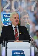 23 January 2017; Speaking at the 2017 Allianz Football League Launch in Croke Park is Uachtarán Chumann Lúthchleas Gael Aogán Ó Fearghail. Kerry face Donegal in the opening round of the Allianz Leagues while All-Ireland champions Dublin will begin their Allianz league defence against Cavan, both on February 5th at 2pm. Visit www.allianz.ie for more. Photo by Brendan Moran/Sportsfile