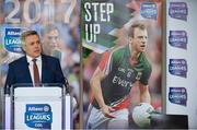 23 January 2017; Speaking at the 2017 Allianz Football League Launch in Croke Park is Sean McGrath, CEO, Allianz Ireland. Kerry face Donegal in the opening round of the Allianz Leagues while All-Ireland champions Dublin will begin their Allianz league defence against Cavan, both on February 5th at 2pm. Visit www.allianz.ie for more. Photo by Brendan Moran/Sportsfile