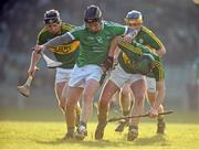 22 January 2017; Peter Casey of Limerick in action against James O'Connor, left, and Sean Nolan of Kerry during the Co-Op Superstores Munster Senior Hurling League Round 4 match between Limerick and Kerry at the Gaelic Grounds in Limerick. Photo by Diarmuid Greene/Sportsfile