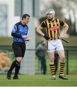 15 January 2017; Referee Paud O'Dwyer in conversation with TJ Reid of Kilkenny during the Bord na Mona Walsh Cup Group 2 Round 2 match between Kilkenny and Antrim at Abbotstown GAA Ground in Abbotstown, Co Dublin. Photo by Cody Glenn/Sportsfile