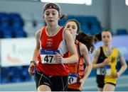 21 January 2017; Saidhbhe Byrne of Enniscorthy Juvenile A.C, Co. Wexford competing in the Girls U14 Pentathlon during the Irish Life Health National Indoor Combined Events Championships at AIT International Arena in Athlone, Co. Westmeath. Photo by Eóin Noonan/Sportsfile