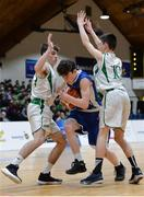 25 January 2017; Dara McNulty of St Joseph's Bish Galway in action against Matthew Sweeney, left, and Thomas Toher, right, of St Malachys College Belfast during the Subway All-Ireland Schools U16A Boys Cup Final match between St Joes Bish and St Malachys College at the National Basketball Arena in Tallaght, Co Dublin. Photo by Seb Daly/Sportsfile