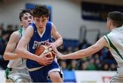 25 January 2017; Dara McNulty of St Joseph's Bish Galway in action against Matthew Sweeney, left, and Gavin Powell, right, of St Malachys College Belfast during the Subway All-Ireland Schools U16A Boys Cup Final match between St Joes Bish and St Malachys College at the National Basketball Arena in Tallaght, Co Dublin. Photo by Seb Daly/Sportsfile