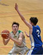 25 January 2017; Cormac O'Rourke of St Malachy's College in action against James Cummins of St Josephs Bish Galway during the Subway All-Ireland Schools U16A Boys Cup Final match between St Joes Bish and St Malachys College at the National Basketball Arena in Tallaght, Co Dublin. Photo by Eóin Noonan/Sportsfile