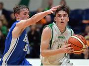 25 January 2017; Cormac O'Rourke of St Josephs Bish Galway in action against Iarlaith O'Sullivan of St Malachy's College during the Subway All-Ireland Schools U16A Boys Cup Final match between St Joes Bish and St Malachys College at the National Basketball Arena in Tallaght, Co Dublin. Photo by Eóin Noonan/Sportsfile