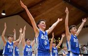 25 January 2017; James Connaire, centre, of St Joseph's Bish Galway celebrates with his team's following victory in the Subway All-Ireland Schools U16A Boys Cup Final match between St Joes Bish and St Malachys College at the National Basketball Arena in Tallaght, Co Dublin. Photo by Seb Daly/Sportsfile