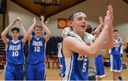 25 January 2017; Iarlaith O'Sullivan of St Joseph's Bish Galway claps the supporters following his team's victory during the Subway All-Ireland Schools U16A Boys Cup Final match between St Joes Bish and St Malachys College at the National Basketball Arena in Tallaght, Co Dublin. Photo by Seb Daly/Sportsfile