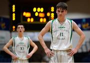 25 January 2017; Cormac O'Rourke, right, of St Malachys College Belfast reacts after missing a free-throw during the Subway All-Ireland Schools U16A Boys Cup Final match between St Joes Bish and St Malachys College at the National Basketball Arena in Tallaght, Co Dublin. Photo by Seb Daly/Sportsfile