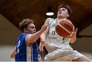 25 January 2017; Cormac O'Rourke of St Malachy's College Belfast in action against Aaron Kiernan of St Joseph's Bish Galway during the Subway All-Ireland Schools U16A Boys Cup Final match between St Joes Bish and St Malachys College at the National Basketball Arena in Tallaght, Co Dublin. Photo by Seb Daly/Sportsfile