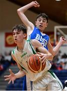 25 January 2017; Cormac O'Rourke of St Malachy's College Belfast in action against James Cummins of St Joseph's Bish Galway during the Subway All-Ireland Schools U16A Boys Cup Final match between St Joes Bish and St Malachys College at the National Basketball Arena in Tallaght, Co Dublin. Photo by Seb Daly/Sportsfile