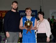 25 January 2017; Aaron Kiernan of St Josephs Bish Galway is presented with the MVP award by Jason Killeen and Theresa Walsh, President of Basketball Ireland, after the Subway All-Ireland Schools U16A Boys Cup Final match between St Joes Bish and St Malachys College at the National Basketball Arena in Tallaght, Co Dublin. Photo by Eóin Noonan/Sportsfile