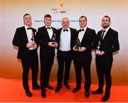 3 November 2017; Warwickshire hurlers, from left, Dean Bruen, Paul Uniacke, Tony Joyce, Manager, Liam Watson and John Collins, after collecting their Lory Meagher Champion 15 Award during the PwC All Stars 2017 at the Convention Centre in Dublin. Photo by Sam Barnes/Sportsfile