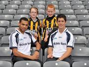 21 June 2011; Ulster Bank GAA stars Craig Dias, left, and Rory O'Carroll pictured with pupils Caitlyn Boylan and Michael McEntegart, from St. Patricks Primary School, Crossmaglen, Co. Armagh, in Croke Park as part of the Ulster Bank/Irish News competition where five lucky classes won a school trip of a lifetime which included a tour of the famous Croke Park Stadium while also meeting some of the biggest GAA stars in the country. Croke Park, Dublin. Picture credit: Barry Cregg / SPORTSFILE