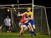 25 January 2017; Michael O'Halloran of Cork in action against Cian Dillon of Clare during the Co-Op Superstores Munster Senior Hurling League Round 5 match between Clare and Cork at O'Garney Park in Sixmilebridge, Co Clare. Photo by Diarmuid Greene/Sportsfile