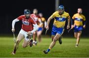 25 January 2017; Conor Lehane of Cork in action against Conor Ryan of Clare during the Co-Op Superstores Munster Senior Hurling League Round 5 match between Clare and Cork at O'Garney Park in Sixmilebridge, Co Clare. Photo by Diarmuid Greene/Sportsfile