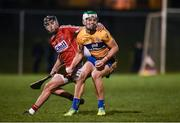 25 January 2017; Aaron Shanagher of Clare in action against Killian Burke of Cork during the Co-Op Superstores Munster Senior Hurling League Round 5 match between Clare and Cork at O'Garney Park in Sixmilebridge, Co Clare. Photo by Diarmuid Greene/Sportsfile