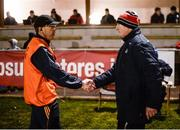 25 January 2017; Clare joint manager Gerry O'Connor and Cork manager Kieran Kingston exchange a handshake after the Co-Op Superstores Munster Senior Hurling League Round 5 match between Clare and Cork at O'Garney Park in Sixmilebridge, Co Clare. Photo by Diarmuid Greene/Sportsfile
