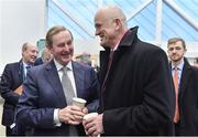 26 January 2017; An Taoiseach, Enda Kenny T.D., officially opened the new Sport Ireland National Indoor Arena in Dublin today. The state-of-the-art indoor training and events centre is situated at the heart of the Sport Ireland National Sports Campus and comprises a National Gymnastics Training Centre, National Indoor Athletics Training Centre and National Indoor Training Centre. Pictured at the opening are, from left, An Taoiseach Enda Kenny, T.D. and John Maughan, Board Member, Sport Ireland. Photo by Brendan Moran/Sportsfile