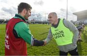 27 January 2017; Anthony Cunningham, right, Moate Community School, Westmeath, congratulates St Peter's College, Wexford, manager Brian Malone after the Top Oil Leinster Colleges Senior A Football Final match between Moate Community School and St. Peter's College at O'Moore Park in Portlaoise, Co. Laois. Photo by Matt Browne/Sportsfile