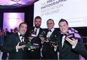 27 January 2017; Sportsfile photographers, from left to right, Brendan Moran, Stephen McCarthy, Diarmuid Greene and Ramsey Cardy with their awards at the Press Photographers Association of Ireland Awards 2017 at the Ballsbridge Hotel in Ballsbridge, Co. Dublin. Photo by Ray McManus/Sportsfile