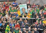 25 June 2011;  Meath supporters hold up a election poster of Meath player Graham Geraghty. GAA Football All-Ireland Senior Championship Qualifier Round 1, Louth v Meath, Kingspan Breffni Park, Co. Cavan. Picture credit: David Maher / SPORTSFILE