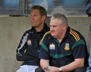 25 June 2011; Graham Geraghty, Meath, sits beside Meath selector Paul Grimley before the start of the game. GAA Football All-Ireland Senior Championship Qualifier Round 1, Louth v Meath, Kingspan Breffni Park, Co. Cavan. Picture credit: David Maher / SPORTSFILE