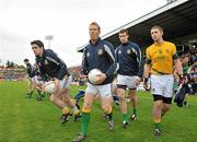 25 June 2011; Graham Geraghty, centre, Meath, before the start of the game. GAA Football All-Ireland Senior Championship Qualifier Round 1, Louth v Meath, Kingspan Breffni Park, Co. Cavan. Picture credit: David Maher / SPORTSFILE