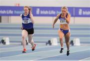 29 January 2017; Janine Boyle of Finn Valley AC, Co Donegal, left, and Molly Scott of St Laurence O'Toole AC, Co Carlow, competing in the Junior Women's 60m final during the Irish Life Health National Junior & U23 Indoor Championships at AIT International Arena in Athlone, Co Westmeath. Photo by Sam Barnes/Sportsfile