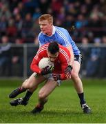 29 January 2017; Derek Maguire of Louth in action against Conor McHugh of Dublin during the Bord na Mona O'Byrne Cup Final match between Louth and Dublin at the Gaelic Grounds in Drogheda, Co Louth. Photo by Ray McManus/Sportsfile