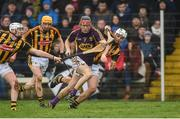 29 January 2017; Diarmuid O'Keeffe of Wexford in action against Lester Ryan and Padraig Walsh of Kilkenny during the Bord na Mona Walsh Cup Semi-Final match between Wexford and Kilkenny at O'Kennedy Park in New Ross, Co Wexford. Photo by Matt Browne/Sportsfile