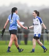 29 January 2017; Olwen Carey of Dublin shakes hands with Sharon Courtney of Monaghan following the Lidl Ladies Football National League Round 1 match between Dublin and Monaghan at Naomh Mearnóg in Portmarnock, Co Dublin. Photo by David Fitzgerald/Sportsfile
