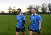 29 January 2017; Noelle Healy, left, and Fiona Hudson of Dublin following the Lidl Ladies Football National League Round 1 match between Dublin and Monaghan at Naomh Mearnóg in Portmarnock, Co Dublin. Photo by David Fitzgerald/Sportsfile