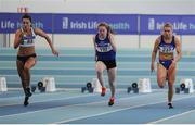 29 January 2017; Ciara Neville of Emerald AC, Co Limerick, left, Janine Boyle of Finn Valley A.C., Co Donegal, and Molly Scott of St Laurence O'Toole A.C., Co Carlow, competing in the Junior Women 60m final during the Irish Life Health National Junior & U23 Indoor Championships at AIT International Arena in Athlone, Co Westmeath. Photo by Sam Barnes/Sportsfile
