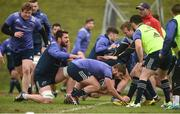 30 January 2017; Rhys Marshall of Munster, supported by team-mate Jean Kleyn, in action against Mark Chisholm during squad training at the University of Limerick in Limerick. Photo by Diarmuid Greene/Sportsfile