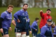 30 January 2017; Munster defence coach Jacques Nienaber alongside Stephen Archer, Jean Kleyn and Tyler Bleyendaal during squad training at the University of Limerick in Limerick. Photo by Diarmuid Greene/Sportsfile