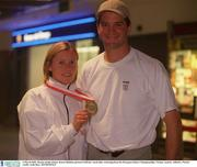 4 March 2002; Bronze medal winner Karen Shinkins pictured with her coach Paul Doyle after returning from the European Indoor Championships, Vienna, Austria. Athletics. Picture credit; Aoife Rice / SPORTSFILE