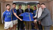 31 January 2017; Wicklow players from left Stephen Kelly and Ross O'Brien along with Ian Barrett Managing Director of Joule, Wicklow Vice Chairman Martin Fitzgerald, Wicklow player John McGrath, Eóin Naughton, Sales Manager with Joule, and Wicklow manager Johnny Magee in attendance at the Wicklow GAA new jersey sponsor announcement at the Powerscourt Hotel Resort & Spa in Enniskerry, Co Wicklow. Photo by Matt Browne/Sportsfile