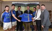 31 January 2017; Wicklow players from left, Stephen Kelly and Ross O'Brien along with Ian Barrett, Managing Director of Joule, Wicklow Vice Chairman Martin Fitzgerald, Wicklow player John McGrath, Eóin Naughton, Sales Manager with Joule and Wicklow manager Johnny Magee in attendance at the Wicklow GAA new jersey sponsor announcement at the Powerscourt Hotel Resort & Spa in Enniskerry, Co Wicklow. Photo by Matt Browne/Sportsfile