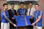 31 January 2017; Wicklow players from left, Stephen Kelly, Ross O'Brien and John McGrath with Ian Barrett, Managing Director of Joule and Eóin Naughton, Sales Manager with Joule in attendance at the Wicklow GAA new jersey sponsor announcement at the Powerscourt Hotel Resort & Spa in Enniskerry, Co Wicklow. Photo by Matt Browne/Sportsfile