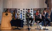 1 February 2017; Pictured are, from left, Paddy McBrearty of Donegal, Darren McCurry of Tyrone and MC Thomas Kane speaking during a Q&A session at the Allianz Football League Belfast launch at Malone House in Belfast. Photo by David Fitzgerald/Sportsfile