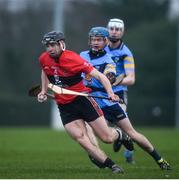 2 February 2017; Shane Roche of UCC in action against Oisin O'Rorke of UCD during the Independent.ie HE GAA Fitzgibbon Cup Group D Round 2 match between University College Dublin and University College Cork at UCD in Belfield, Dublin. Photo by Cody Glenn/Sportsfile