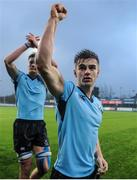 2 February 2017; Christopher Carey, right, and Jack Dunne of St Michaels College celebrate following the Bank of Ireland Leinster Schools Senior Cup Round 1 match between St Michael's College and St Gerard's School at Castle Avenue, Clontarf, Dublin. Photo by Sam Barnes/Sportsfile