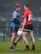 2 February 2017; Stephen Quirke of UCD shakes hands with Seamus Kennedy of UCC following the Independent.ie HE GAA Fitzgibbon Cup Group D Round 2 match between University College Dublin v University College Cork at UCD, Belfield, Dublin. Photo by Cody Glenn/Sportsfile